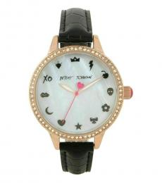 Betsey Johnson Black Leather Strap Emojis Watch