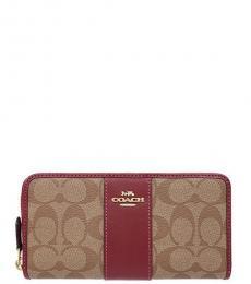 Khaki/Cherry Accordion Wallet