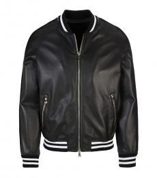 Balmain Black Striped Logo Bomber Jacket