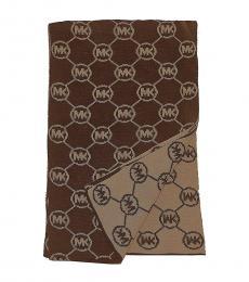 Michael Kors Chocolate-Camel Cowl Monogram Scarf