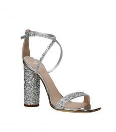 Giuseppe Zanotti Silver Open Toe Glitter Heels