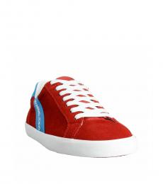 Dolce & Gabbana Red Suede Low Top Sneakers