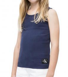 Calvin Klein Little Girls Peacot Monogram Tank Top