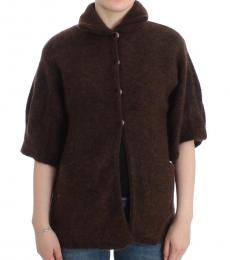 Cavalli Class Brown Mohair Knitted Cardigan
