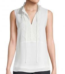 White Tie-Neck Blouse