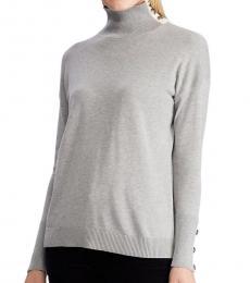Grey Contrast-Tab Turtleneck Sweater