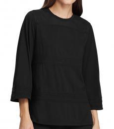 Ralph Lauren Black Lace-Trim Cotton Top