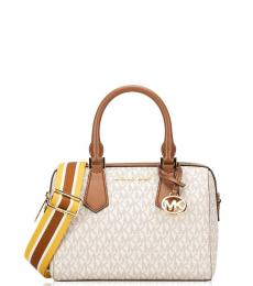 Michael Kors Vanilla/Luggage Hayes Small Satchel