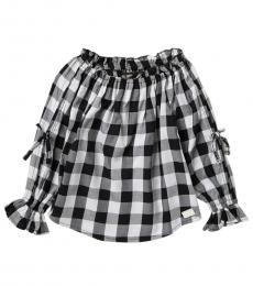 7 For All Mankind Little Girls Gingham Off The Shoulder Top