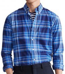 Royal Blue Classic-Fit Plaid Poplin Shirt