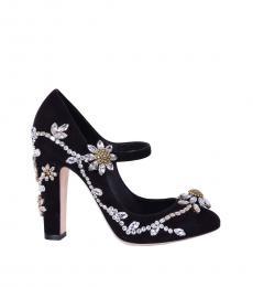 Black Crystals Embellished Heels