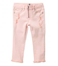 7 For All Mankind Little Girls Pink O-Ring Exposed Zipper Jeans