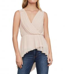 Bare Pink Pleated Faux Wrap Top
