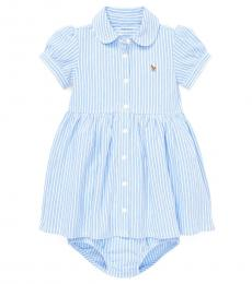 Ralph Lauren Baby Girls Blue Striped Knit Oxford Dress