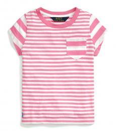 Ralph Lauren Little Girls Baja Pink Striped T-Shirt