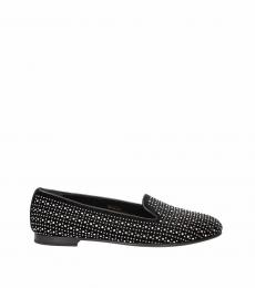 Black Studs Embellished Loafers