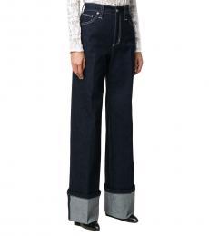 Navy Blue Wide Leg High Rise Jeans