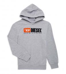 Diesel Boys Grey Logo Patch Hoodie