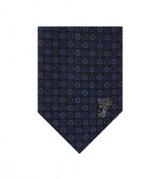 Blue Embroidered Silk Tie