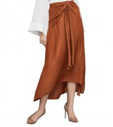 BCBGMaxazria Brown Twist-Front Midi Skirt