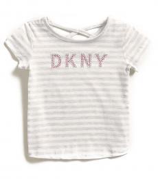 DKNY Little Girls White Stud Logo T-Shirt