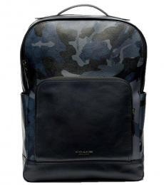Coach Blue Graham Camo Large Backpack