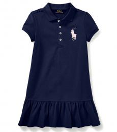 Ralph Lauren Little Girls French Navy Mesh Polo Dress