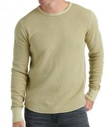 Olive Long-Sleeve Topstitched T-Shirt
