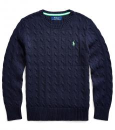 Boys Navy Cable-Knit Sweater