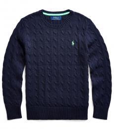 Ralph Lauren Boys Navy Cable-Knit Sweater