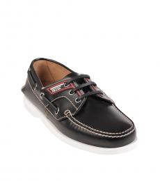 Prada Black Leather Lace Up Loafers