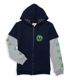 True Religion Boys Navy Neon Pop Logo Zippered Hoodie