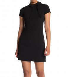 Vince Camuto Black Petite Bow Tie Scuba Crepe Dress