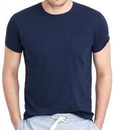 Navy Blue Slim Washed Pocket T-Shirt