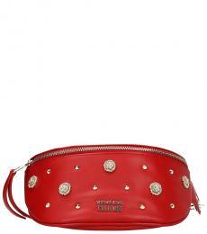 Versace Jeans Red Zip Embellished Belt Bag