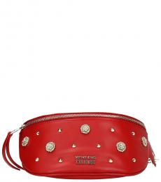 Versace Jeans Red Zip Embellished Belt Bag