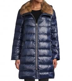 English Navy Faux Fur-Trim Down Puffer Coat