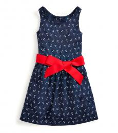 Ralph Lauren Little Girls Blue Anchor-Print Twill Dress
