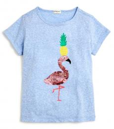 J.Crew Girls Blue Pineapple Flamingo T-Shirt