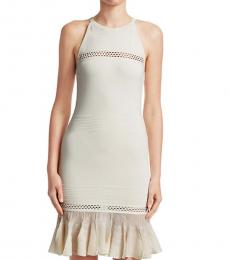 Roberto Cavalli White Peplum Hem Knit Dress