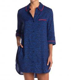 DKNY Navy Blue Logo Stripe Sleep Shirt