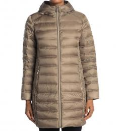 Michael Kors Taupe Packable Puffer Jacket