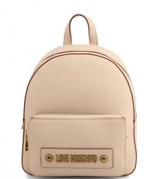 Love Moschino Beige Solid Medium Backpack