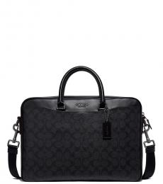 Coach Black/Oxblood Beckett Slim Large Briefcase Bag