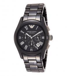 Emporio Armani Black-Silver Chronograph Watch