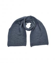 Armani Jeans Blue Solid Logo Scarf