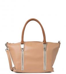 Lancaster Paris Natural Zip Medium Satchel