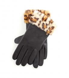 Leopard-Black Faux-Fur Gloves