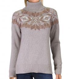 Ralph Lauren Oatmeal Ribbed Trim Turtleneck Sweater