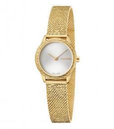 Calvin Klein Yellow Gold Silver Dial Watch